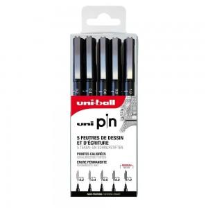 Set 5 Feutres Uni Pin 0.2 à 1mm